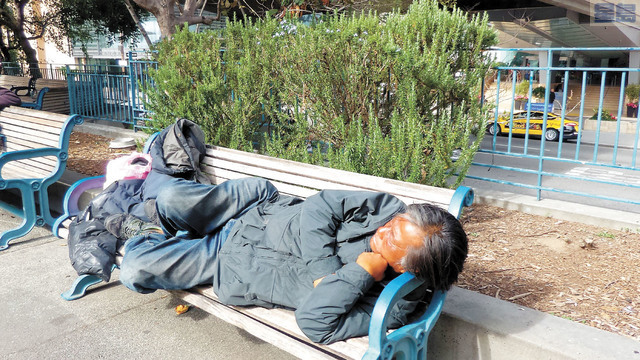 花園角公園的無家可歸者。記者黃偉江攝