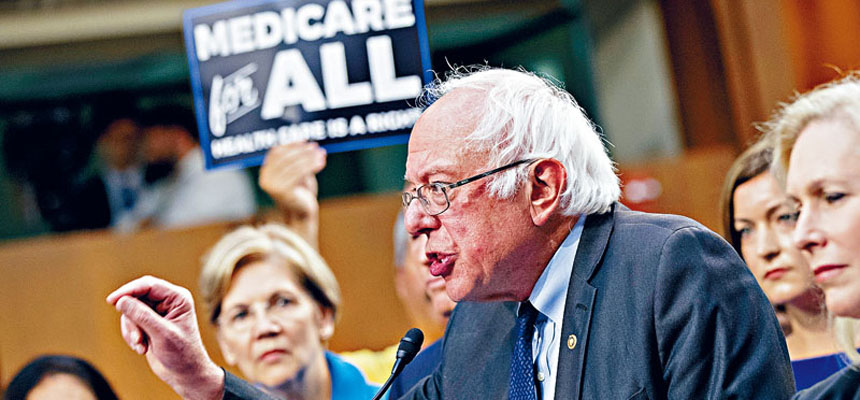 桑德斯的全民健保項目提案,已獲得15名民主黨籍參議員的支持。彭博圖片