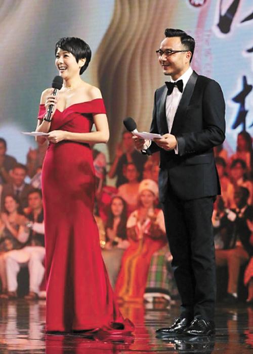 楊樂樂與汪涵同台主持節目。網上圖片