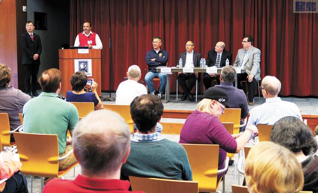 草根組織「更好古巿」昨天舉辦「區域計劃論壇」。州眾議員朱感生(台上左三)出席參加。記者王慶偉攝