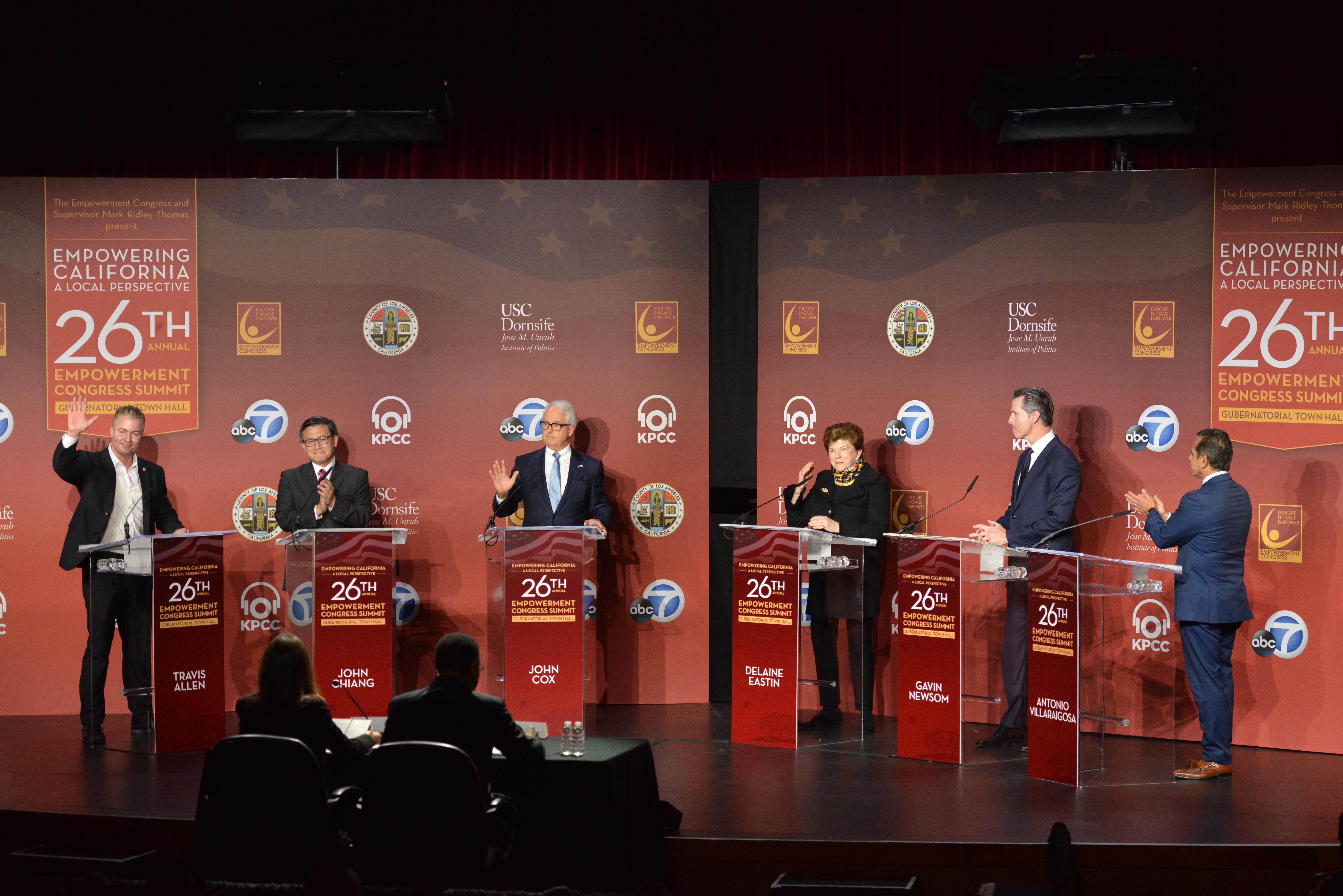 六名加州州長候選人就社會問題進行答辯。主辦方提供