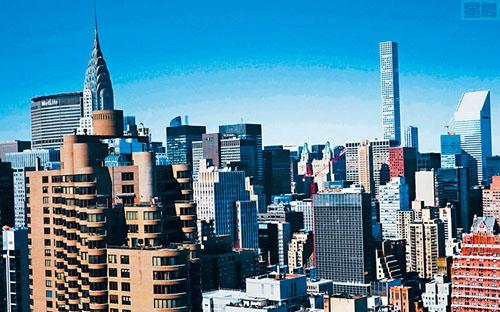 紐約曼哈頓的住宅公寓大樓鱗次櫛比。法新社