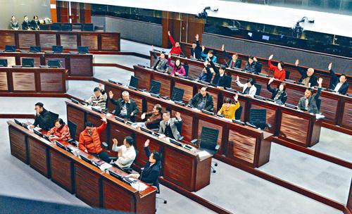 建制派一致贊成下通過修改《會議程序》。陳浩元攝