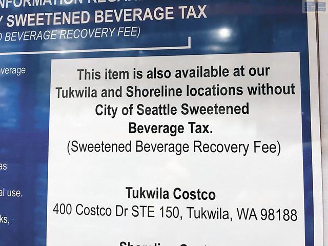Costco提示顧客可選擇到市外購買該飲料,毋須支付新的稅金。Deedee Sun推特