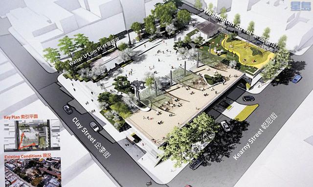 集合各界意見的花園角公園最終設計方案出爐。 像金山起伏地形的遊樂場設計方案。 民眾詳細了解設計方案細節。記者黃偉江攝