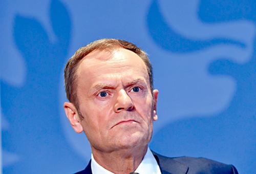 歐洲理事會主席圖斯克公布與英國談判的指引草案。法新社