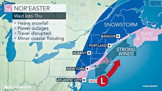 ■另一股冬季風暴本周將會在東岸帶來降雪和狂風暴雨。  AccuWeather圖片