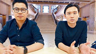 陳大利導演(左)稱讚第一次拍電影的凌文龍(右)演技一流,肢體動作靈活。他希望大家在16日晚去看電影「黃金花」。梁敏育攝
