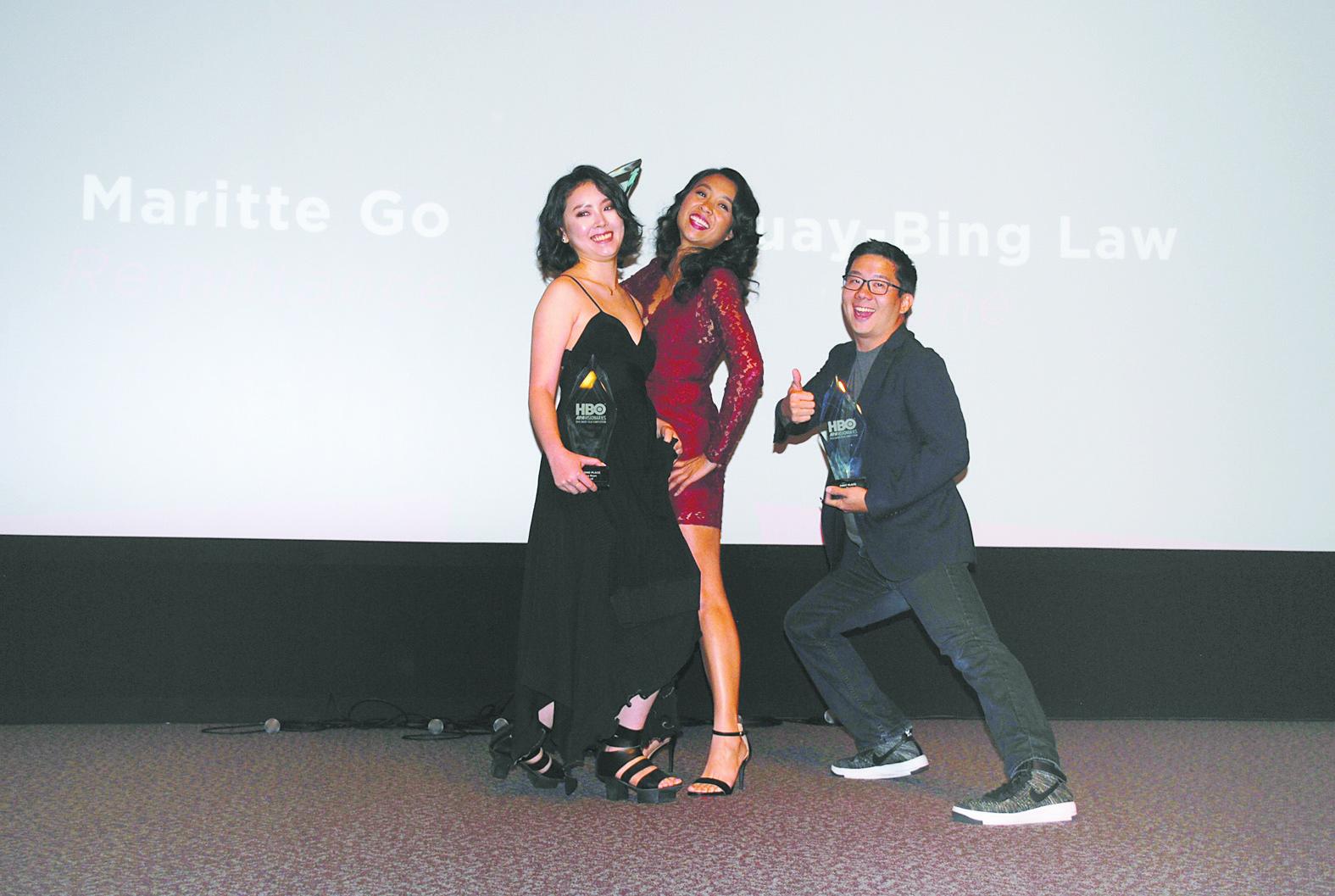(左起)獲亞軍的阮鳳儀、獲季軍的菲律賓裔女導演Maritte Go、奪冠的羅暉平出席HBO亞太裔美國人夢想家短片比賽頒獎禮。記者李青蔚攝