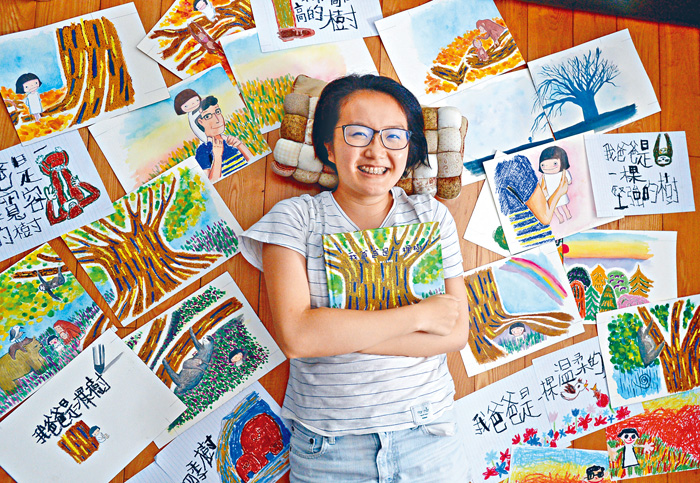 温柏萱表示,繪本中描繪對父親的印象,更令她憶起從前點滴。伍明輝攝