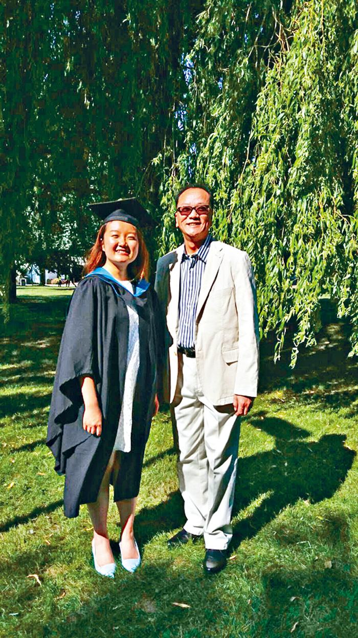 温柏萱父親曾出席女兒大學畢業典禮。受訪者提供
