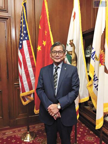 第四次出任舊金山中華總商會會長的區國雄。記者黃偉江攝