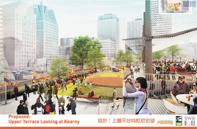 花園角廣場的最終設計概念圖。公園康樂局提供。