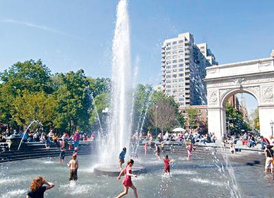 紐約市高溫預警未來兩天生效,最高溫度近100度。           網絡圖片
