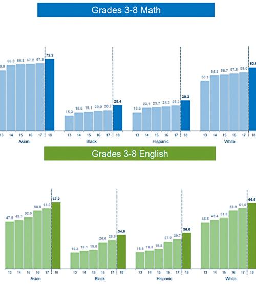 2013年至2018年各個族裔數學和英語會考的及格率。資料圖片