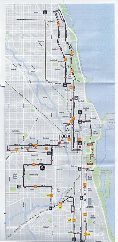 10月7日,芝加哥馬拉松大賽的路線圖。警方呼籲民眾注意當天的路況。