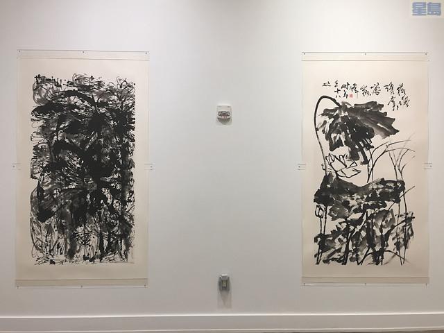 唐家偉早期繪於1995年的傳統筆畫的荷花(右)與2011年的指畫荷花(左)。記者馬欣攝