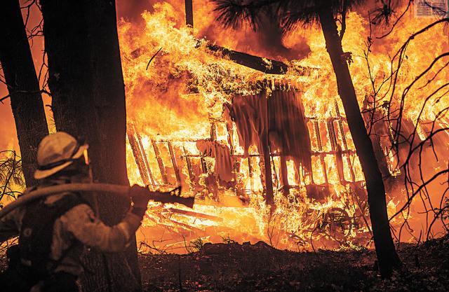 布特縣山火已經有9人遇難,6000多棟建築被燒毀。                       美聯社圖片