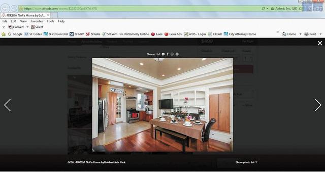 李氏夫婦在Airbnb上刊登的短租廣告,顯示為相同物業。市府律師辦公室