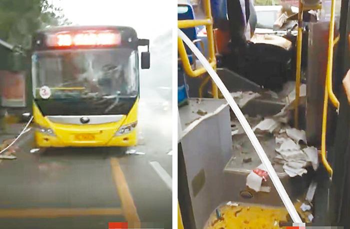 巴士爆炸,車內一片混亂。網上圖片