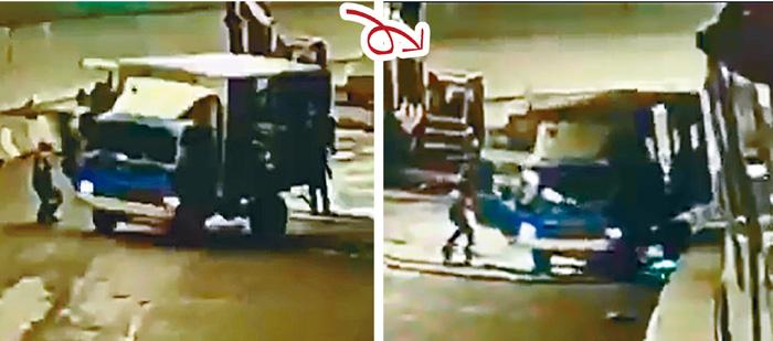 貨車溜後撞向工人,司機圖撲上車煞掣不果,車尾將工人撞倒捲入車底輾斃。網上圖片