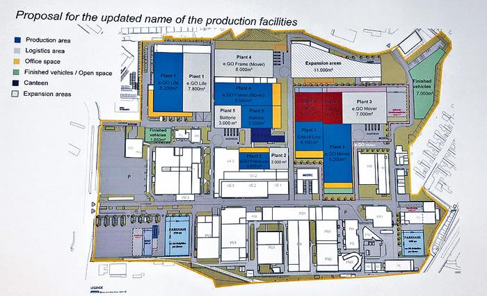 德國初創e.GO已建立約六萬呎的三層智能旗艦工廠,組裝不同類型的電動車。