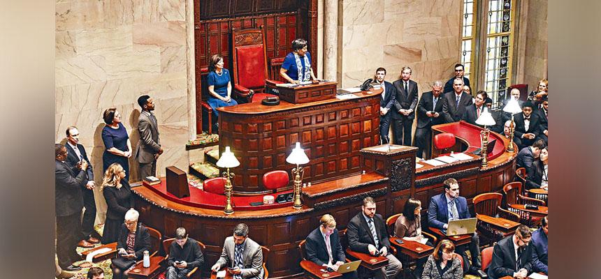 州議會在民主黨全面掌控下,已揚言將推動多項法案。 Stephanie Keith/紐約時報