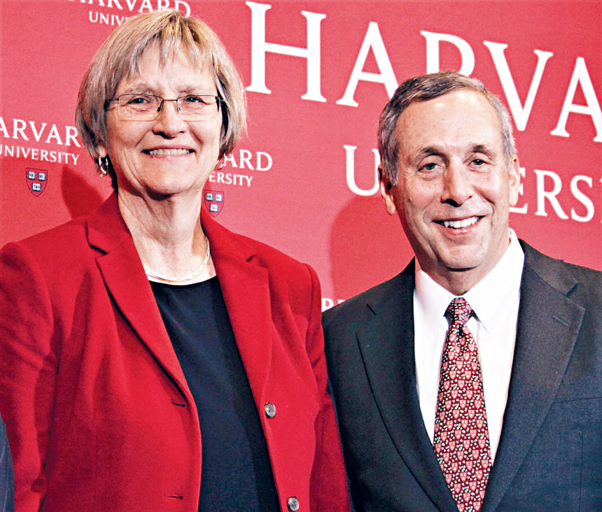 (左起)哈佛前任校長福斯特和現任校長巴科。檔案圖片