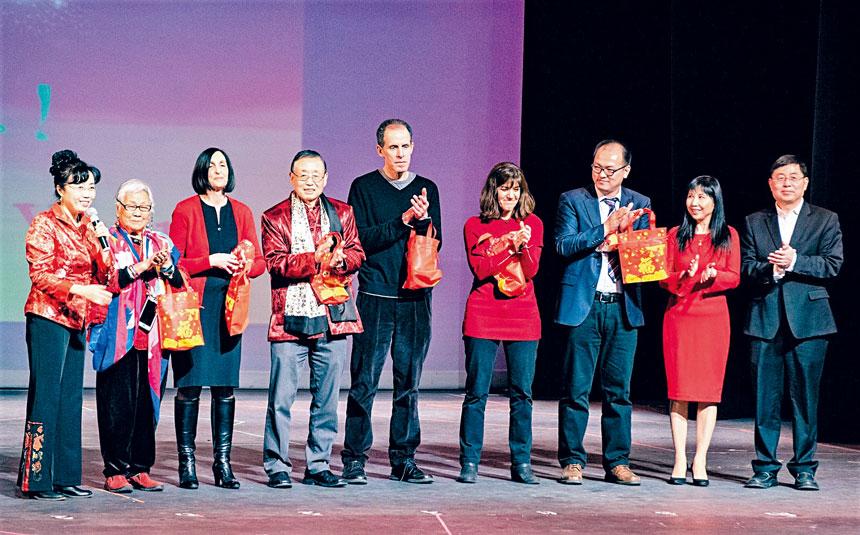 (左起)梁楠、趙鍾英、福樂市長、沈安平博士等嘉賓致辭。