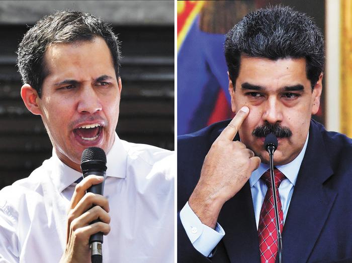 美國國務卿蓬佩奧26日在聯合國會上,呼籲各國承認瓜伊多(左圖)任委內瑞拉國家元首,並敦促馬杜羅(右圖)辭職。法新社