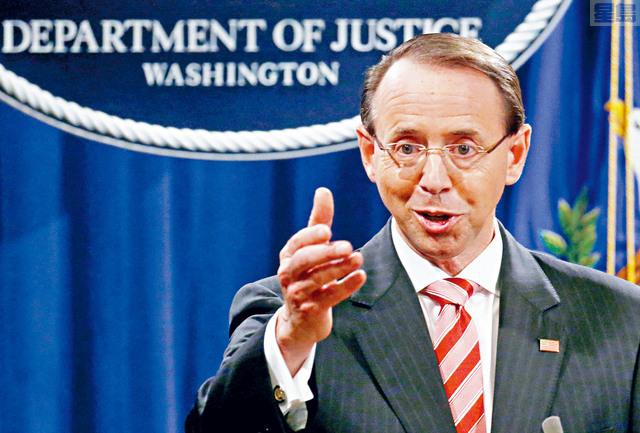 l 司法部副部長羅森斯坦,計劃在新的司法部長上任後離職。他任命穆勒為特別檢察官對通俄門展開調查,並予以監督。  路透社