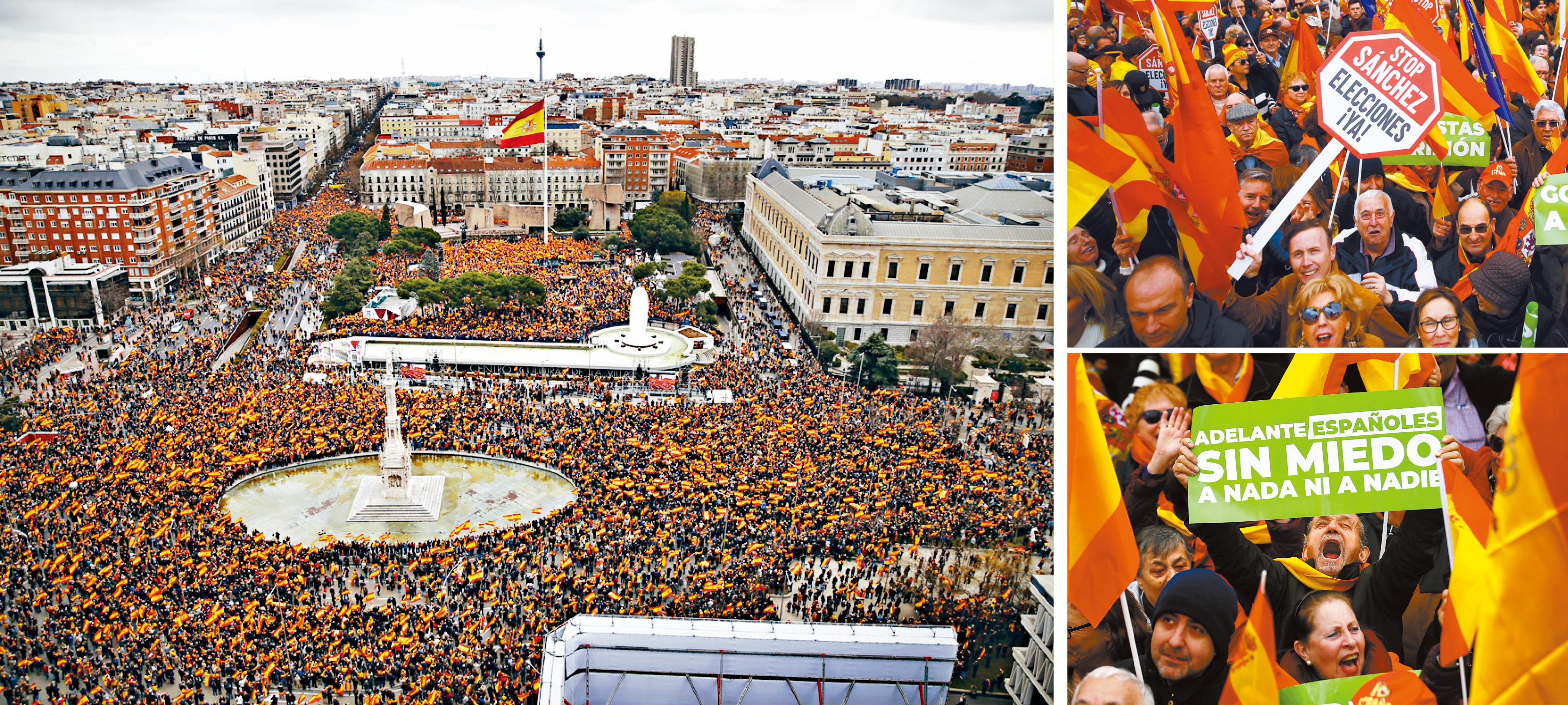 西班牙大批民眾10日擠爆哥倫布廣場,要求總理下台。美聯社