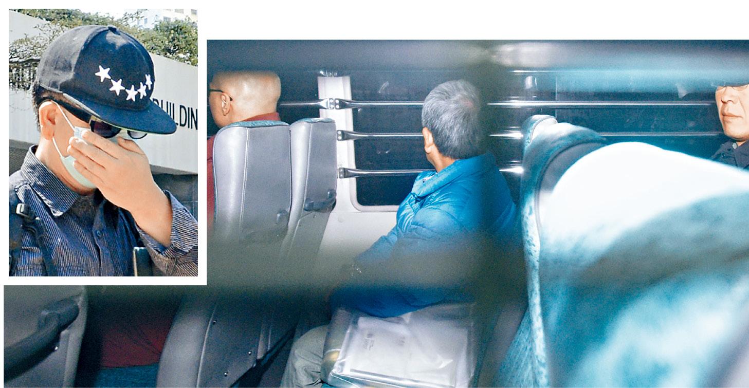 汚點證人吳啓堯(小圖)由囚車押送出庭。梁譽東攝