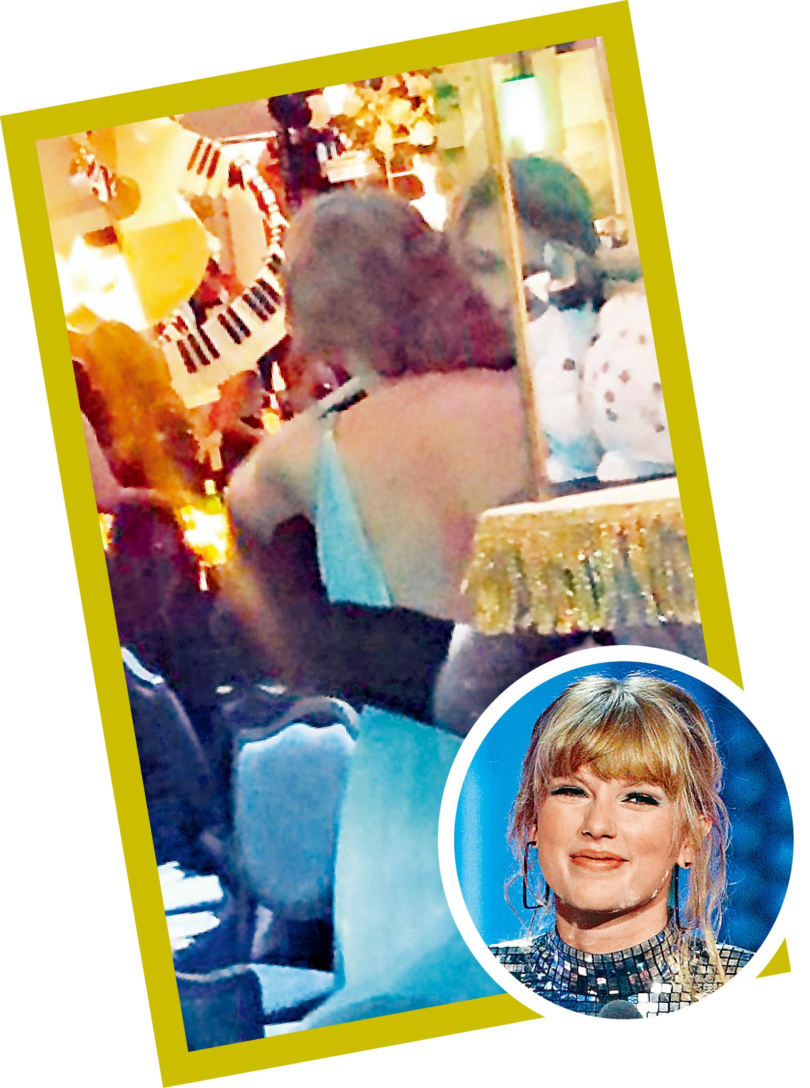 ■Taylor做跟得女友,在大會派對上與男友Joe抱抱。