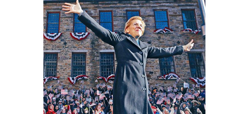 民主黨籍參議員沃倫9日在麻省的羅倫斯舉辦造勢活動。美聯社