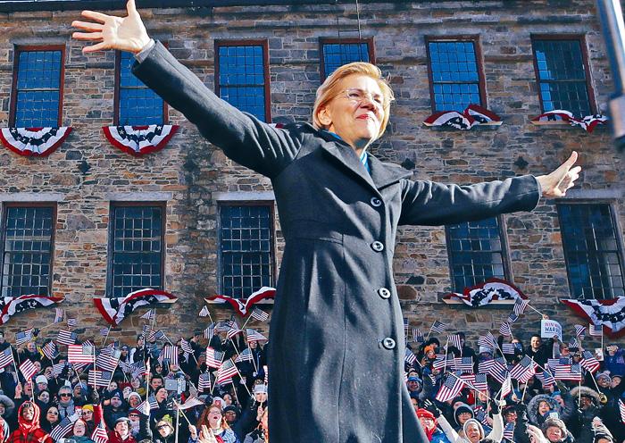 ■民主黨籍參議員沃倫9日在麻省的羅倫斯舉辦造勢活動。美聯社