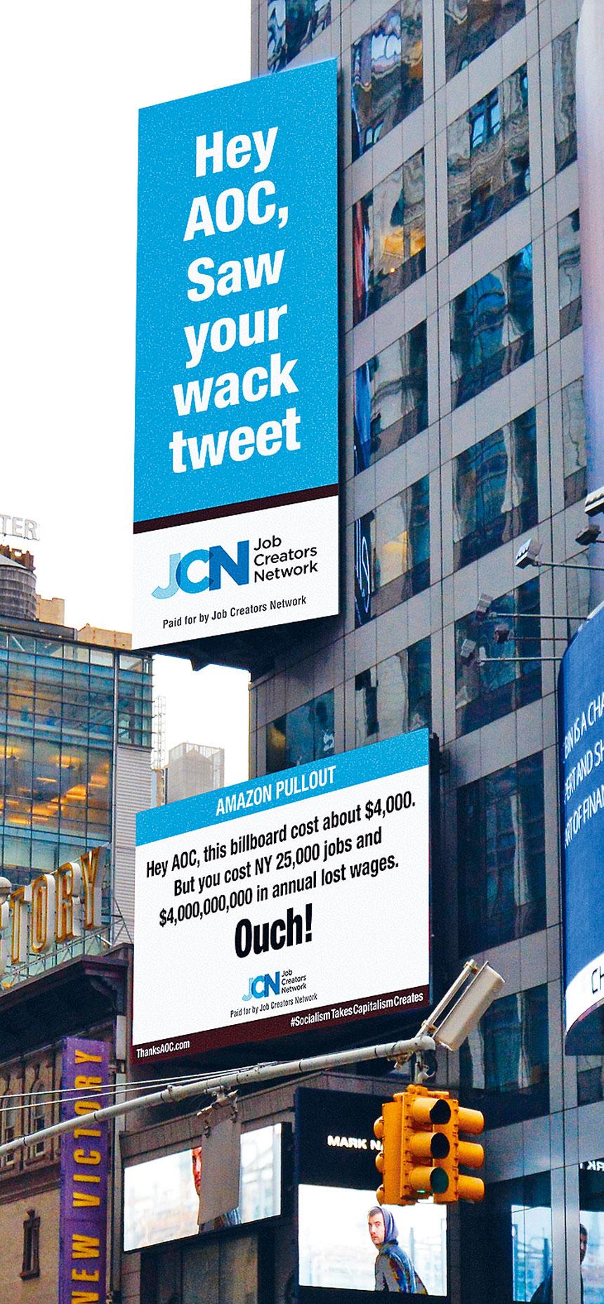 JCN在時報廣場打廣告指責奧卡西奧哥德斯。 網上圖片