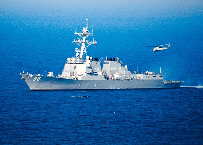 圖為美軍導彈驅逐艦普雷布爾號。路透社