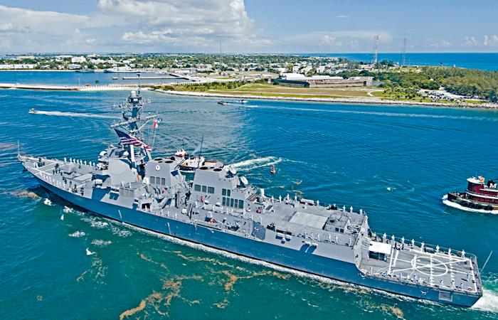 ■圖為美軍導彈驅逐艦斯普魯恩斯號。路透社