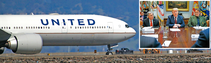 美國總統特朗普(小圖中)13日下達緊急令,要求美國的航空公司立即停飛波音公司生產的737 MAX客機。美聯社/法新社