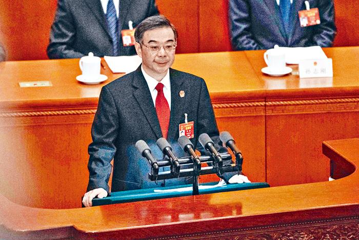 最高法院院長周強12日發表工作報告。法新社