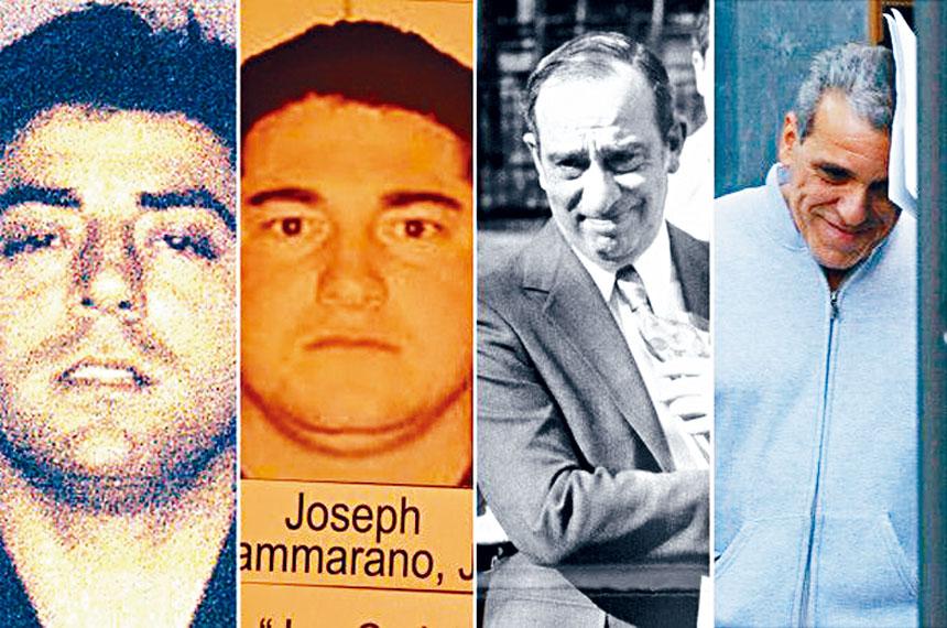 紐約5大犯罪家族其中4個頭目,左起甘比諾家族的卡利,博南諾家族的小卡馬拉諾,科倫坡家族的波斯科,盧切斯家族的克雷亞。    NYP圖片