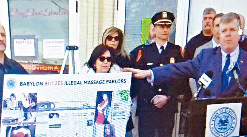 長島蘇福縣巴比倫鎮警長Rich Schaffer 宣布查封了四間非法按摩與涉嫌賣淫的按摩店。