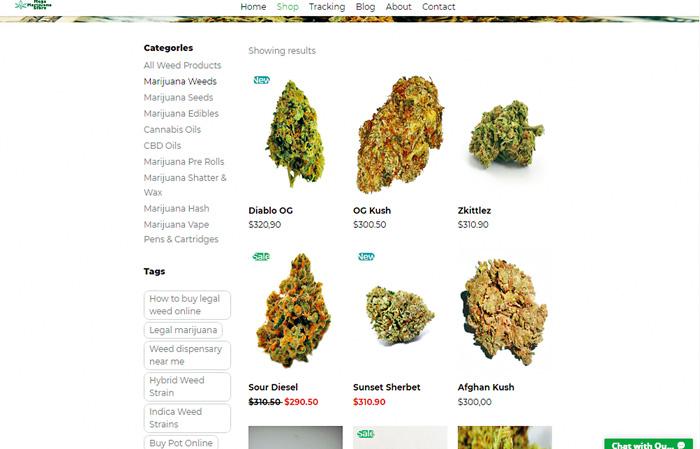 美國有網店公然在網頁展示各類大麻產品。網上圖片