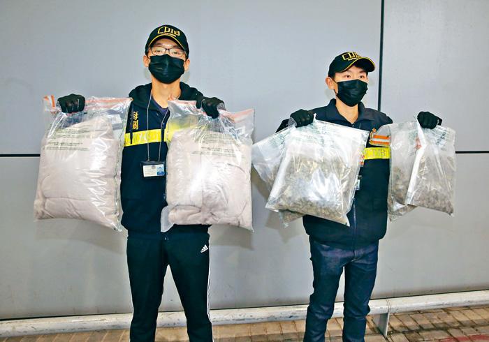今年一月海關截獲毛氈郵包藏大麻毒案,截獲兩公斤大麻花。資料圖片