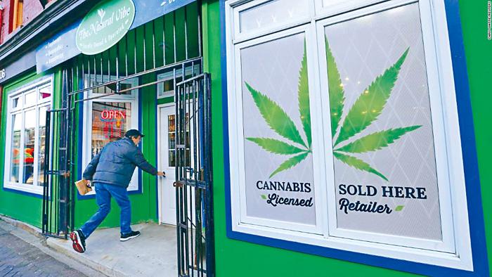 加拿大去年底大麻合法化,有不少專門店出售大麻產品。網上圖片