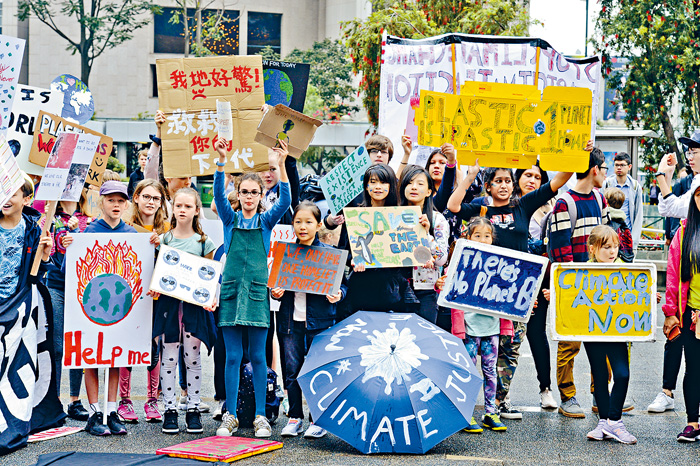香港學生自發組織響應全球氣候罷課行動。 陳浩元攝