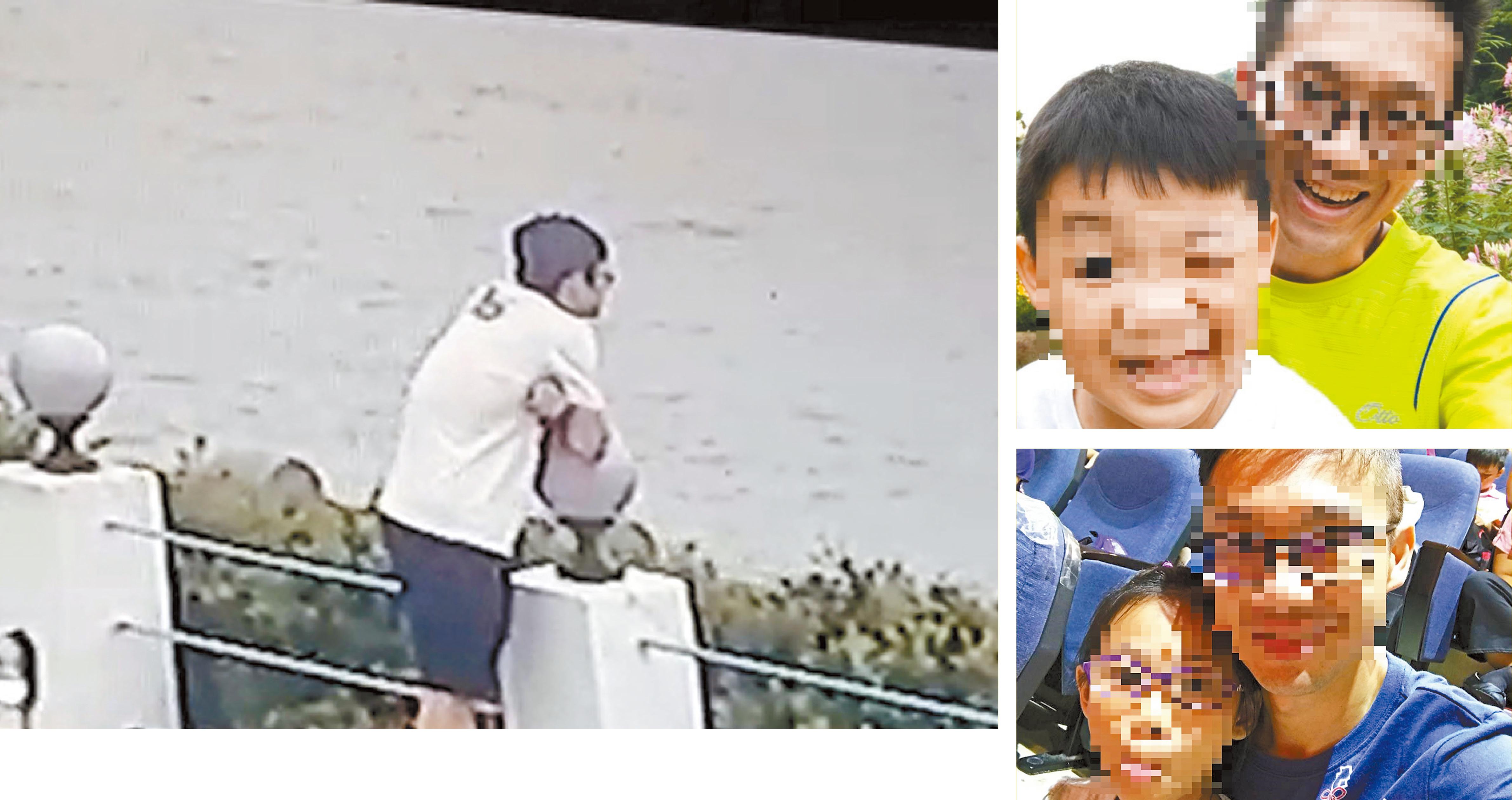 警方調閱監視畫面,吳男落寞凝視海面,隨後消失在畫面外。右圖為吳男平日臉書時常貼出與子女的合照。中央社