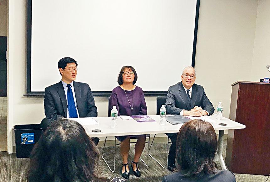 亞美聯盟和斯靜格召開新聞發布會,指出亞裔移民現狀。