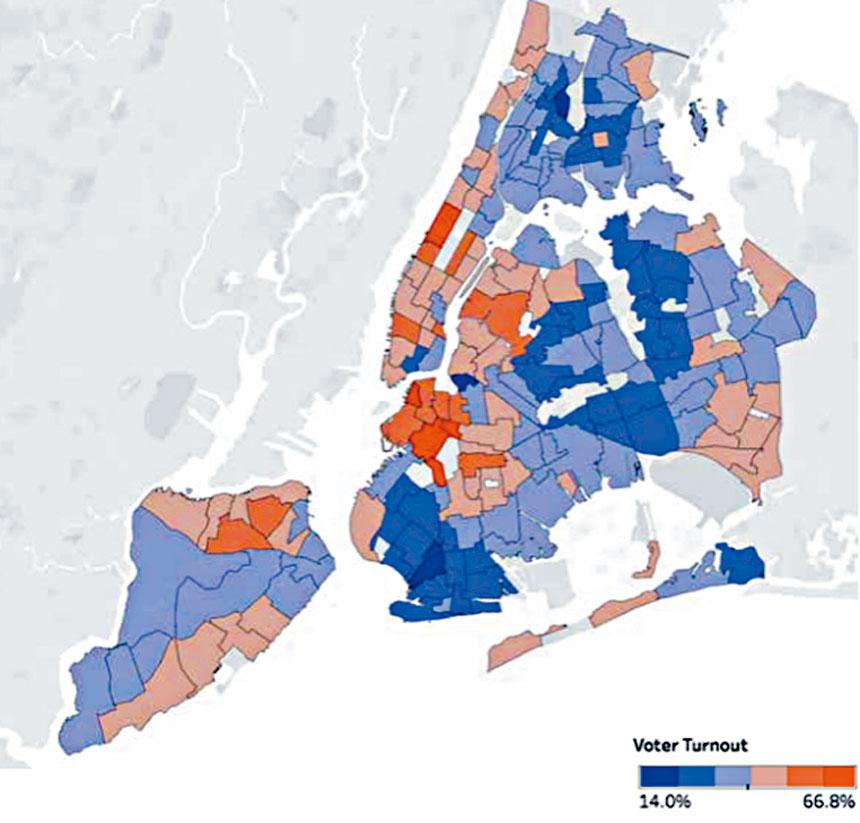 全市投票率圖,深藍色區最低,深紅色區最高。